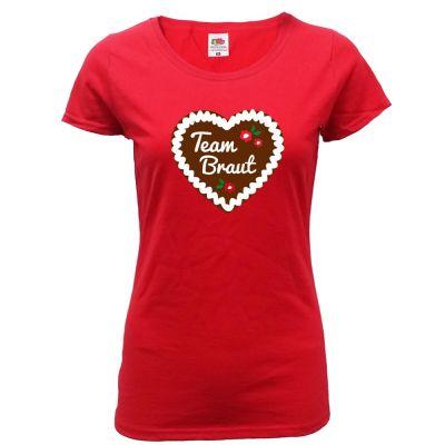 Rotes JGA T-Shirt mit Lebkuchenherz und Team Braut-Schriftzug