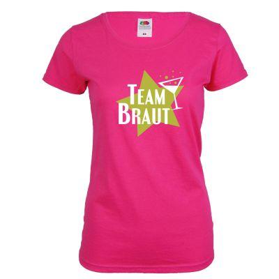 Pinkfarbenes Team Braut T-Shirt mit Stern-Motiv