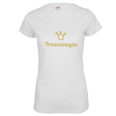 Weißes JGA-Shirt mit Trauzeugin-Schriftzug und goldfarbener Krone