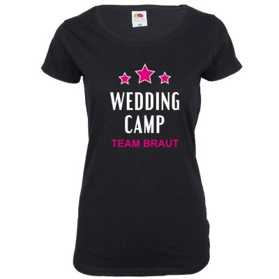 Schwarzes JGA Damen-Shirt mit Wedding Camp-Motiv