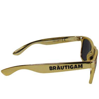 Goldfarbene JGA Sonnenbrille mit Bräutigam-Aufdruck