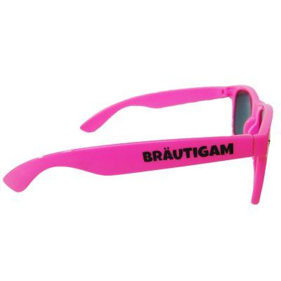 Pinkfarbene Fun-Sonnenbrille mit Bräutigam-Aufschrift