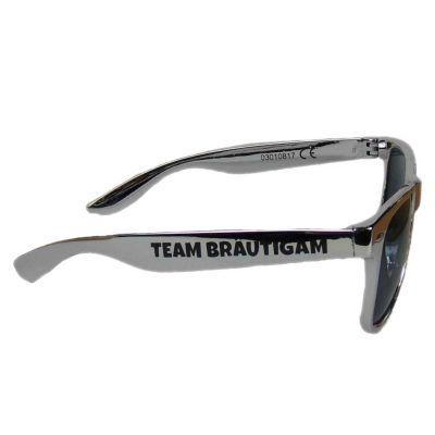 Silberfarbene JGA Sonnenbrille mit Team Bräutigam-Aufdruck