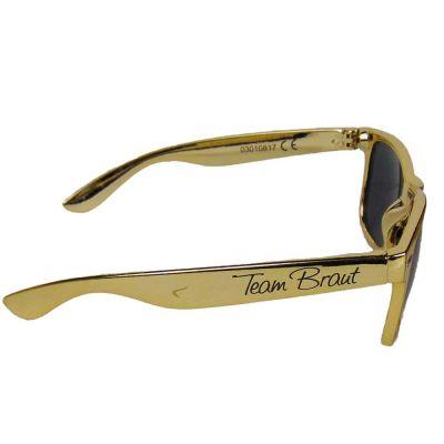 Goldfarbene JGA Sonnenbrille mit Team Braut-Aufdruck
