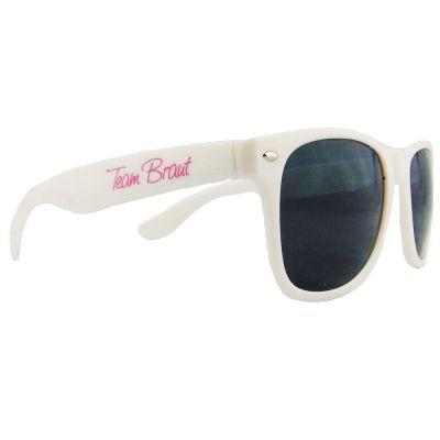 Weisse JGA-Sonnenbrille mit Team Braut-Motiv