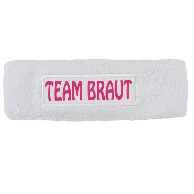 JGA-Stirnschweißband mit Team-Braut-Motiv in Weiß