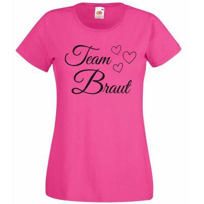 Junggesellenabschied-T-Shirt Team Braut mit Herzen - Pink