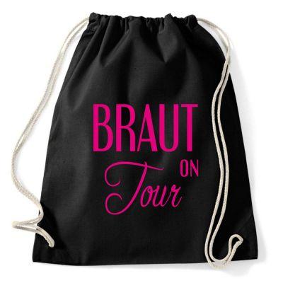 Schwarze JGA-Tasche mit stilvollem Braut on Tour-Motiv