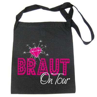 Schwarze Umhängetasche mit Braut on Tour-Motiv