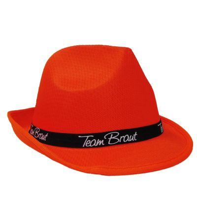 Orangefarbener Junggesellinnenabschied-Hut mit Team Braut-Hutband