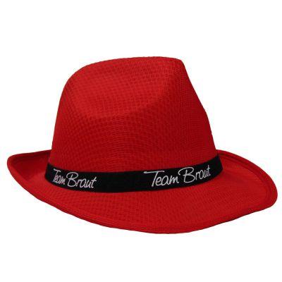 Roter Junggesellinnenabschied-Hut mit Team Braut-Hutband