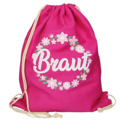 JGA Turnbeutel-Rucksack - Blumenkranz mit Braut-Schriftzug - Pink