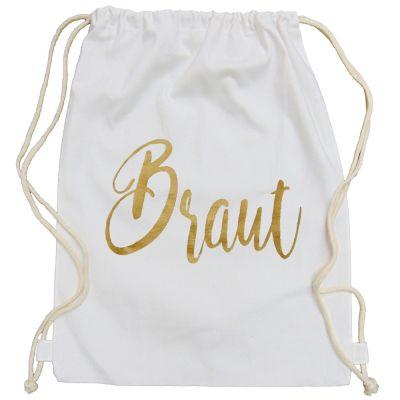 Weißer JGA Turnbeutel mit goldfarbenem Braut-Aufdruck