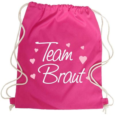 JGA Turnbeutel-Rucksack mit Team Braut-Herzchen-Motiv - Pink