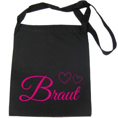 Junggesellenabschied-Tasche mit Braut-Motiv und Herzen