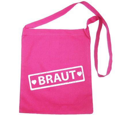 Pinkfarbene JGA-Tasche mit Braut-Label