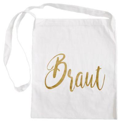 Weiße Umhängetasche mit goldfarbenem Braut-Aufdruck