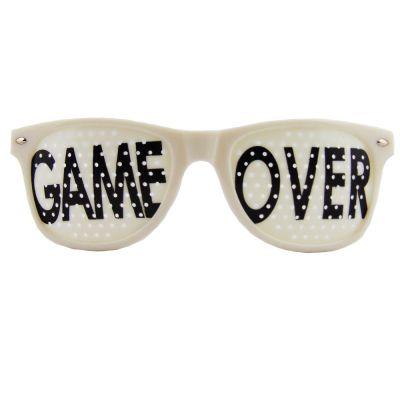 Weisse Junggesellenabschied-Brille mit Game Over-Motiv