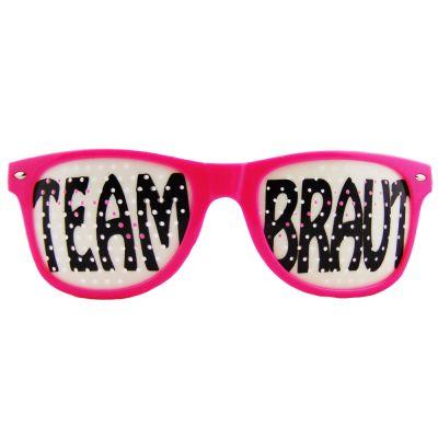 Pinkfarbene Junggesellenabschied-Brille mit Team Braut-Motiv