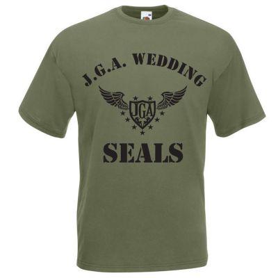 Grünes Junggesellenabschied-T-Shirt mit Wedding Seals Motiv