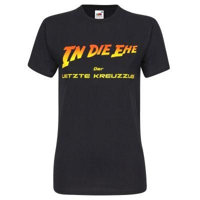 """Schwarzes Junggesellenabschied-Shirt mit """"In die Ehe""""-Schriftzug"""
