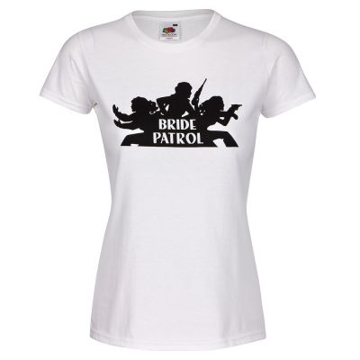 Weißes Junggesellinnenabschied T-Shirt mit Bride Patrol-Logo