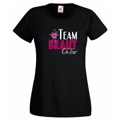 Schwarzes Junggesellinnenabschied-T-Shirt mit Team Braut on Tour Motiv