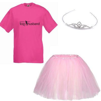 JGA Kostüm für Männer mit T-Shirt, Tütü und Krone