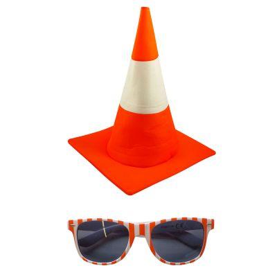 Leitkegel-Kostüm - Pylon-Hut und Sonnenbrille im Verkehrskegel-Design