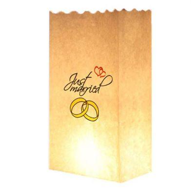 Hochzeit-Lichttüte mit Just Married-Motiv