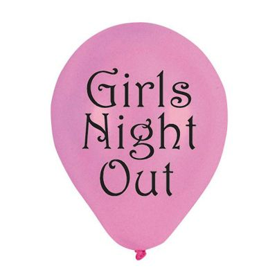 Pinkfarbene Luftballons mit Aufdruck Girls Night Out