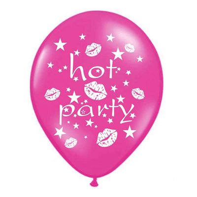 Pinkfarbener Luftballon mit Aufdruck Hot Party