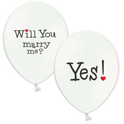 Weiße Luftballons mit zweiseitigem Hochzeitsaufdruck
