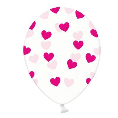 Transparente Luftballons mit pinkfarbenen Herzen