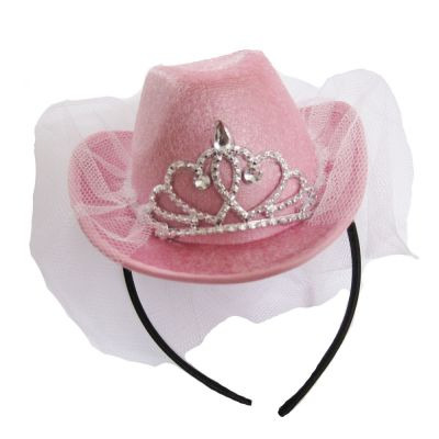 Rosafarbener Mini-Cowboyhut mit Schleier