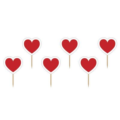 6 Stück Muffin-Picker mit roten Herzen