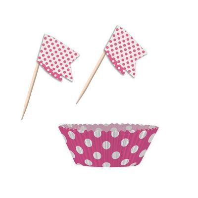 Muffin-Set mit Förmchen und Picker in Pink