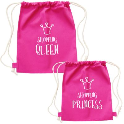 Shopping Princess-Taschen als Mama-Tochter Partnerlook Outfit