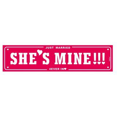 Nummernschild aus Pappe mit Aufschrift She`s mine