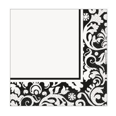 Papierservietten mit schwarzem Damast-Muster