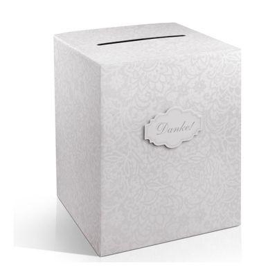 Weiße Box für Hochzeitskarten mit Aufdruck Danke