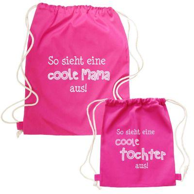 Pinkfarbene Partnerlook-Rucksäcke - Coole Mama und Tochter