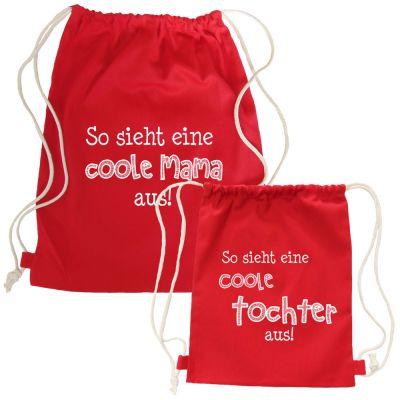 Rote Partnerlook-Rucksäcke - Coole Mama und Tochter