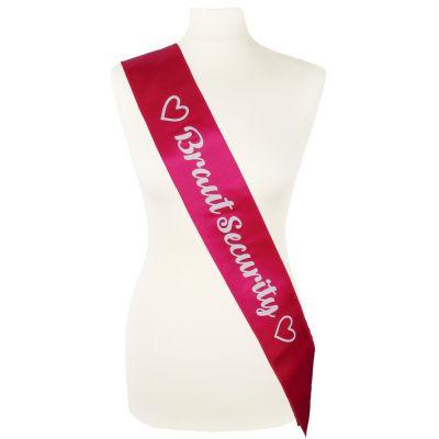 JGA-Schärpe Braut Security - Pink mit Herzen