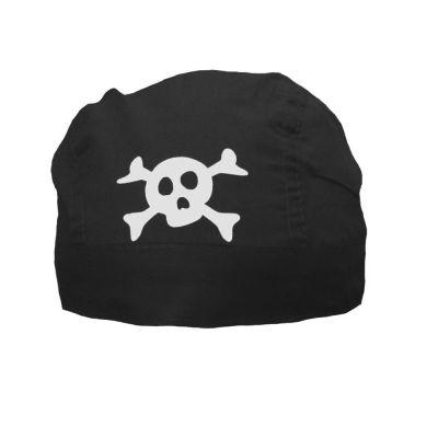 Schwarzes Piratenkopftuch - Piratentuch mit Totenkopf