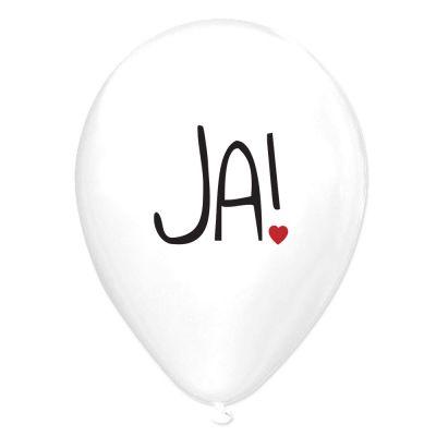 Weiße Luftballons mit JA-Motiv als JGA- und Polterabend-Deko