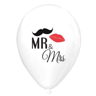 Luftballons mit Mr. und Mrs.-Motiv als JGA- und Polterabend-Deko