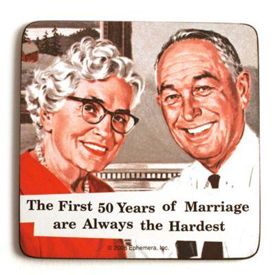 Retro-Untersetzer mit altem Ehepaar im Comic-Stil