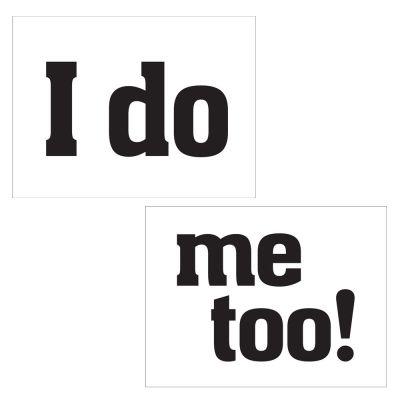 """Schuhsticker mit Aufdruck """"I do"""" und """"me to"""""""