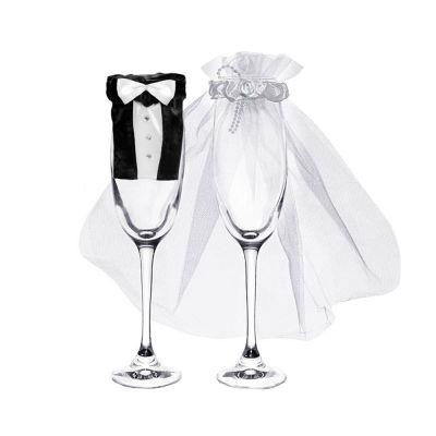 Brautpaar Dekoration für Sektgläser
